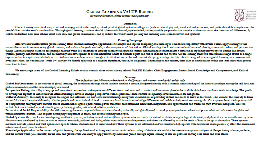 Global Learning Value Rubric AAC&U