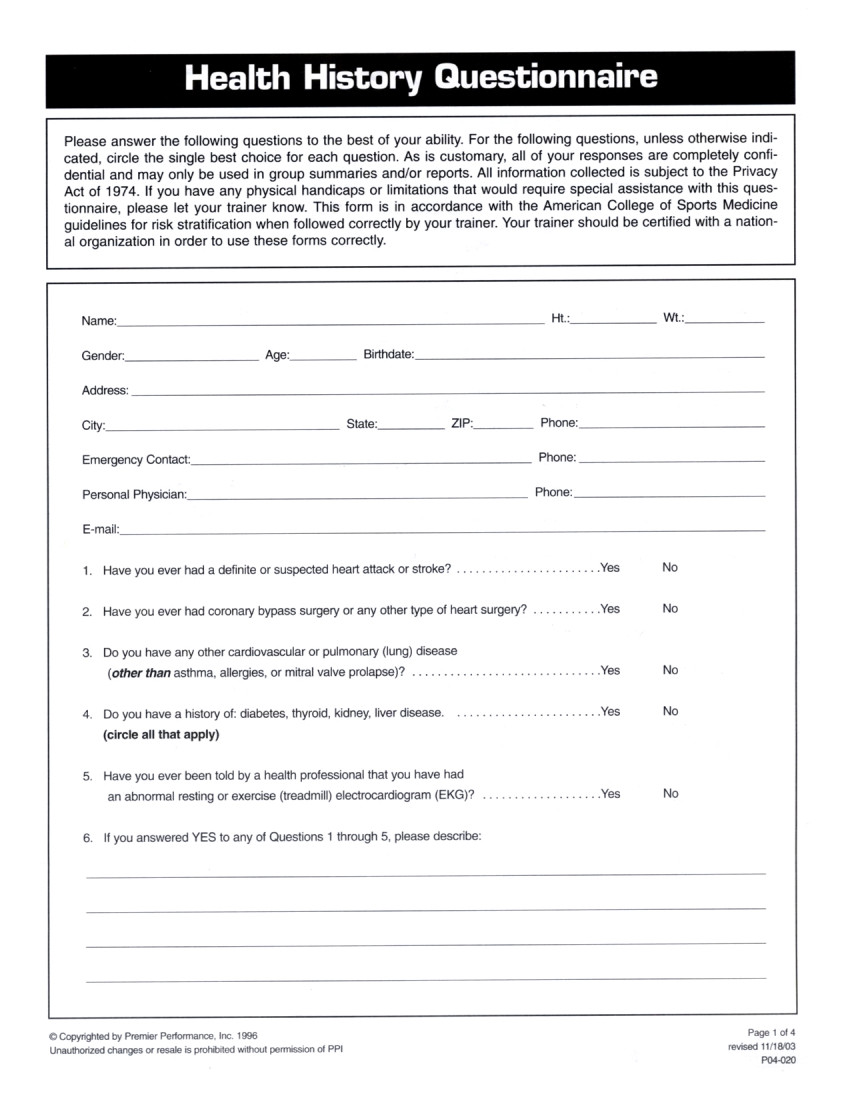 Exercise science b s for Health questionnaire form template